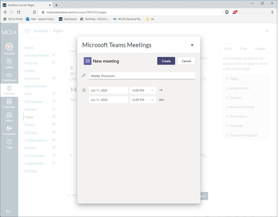 Canvas pop up window with Microsoft Teams new meeting options.